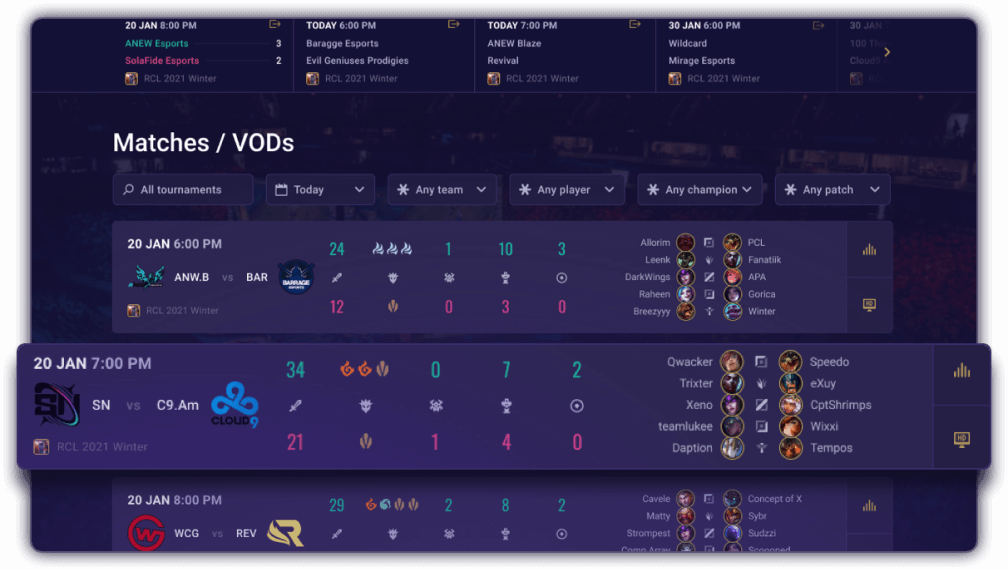 Keep up with VODs and Game Data